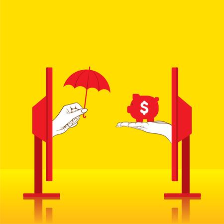 insure: creative conceptual secure money or insure money concept design