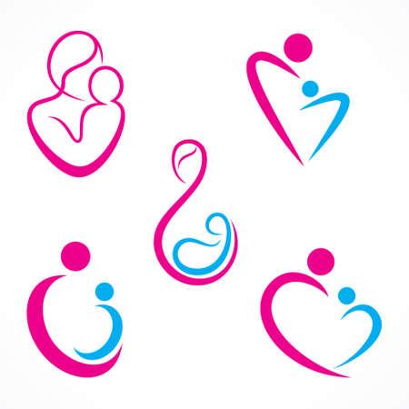 아기: 창조적 인 어머니 아기 아이콘 디자인 개념 벡터 일러스트