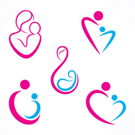 mom son: creative mother baby icon design concept vector