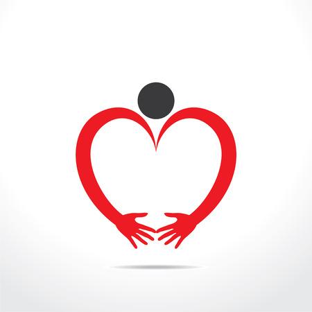 heart hand: creative heart shape design,men make heart shape by hand concept vector