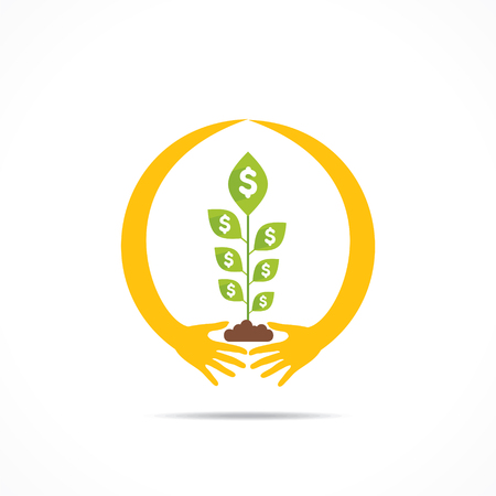 plant hand: hand around money plant , secure money concept design vector Illustration