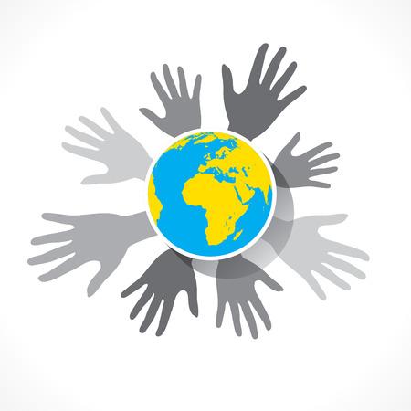 globális üzleti: mentse föld fogalom vagy globális üzleti tervezés vektor
