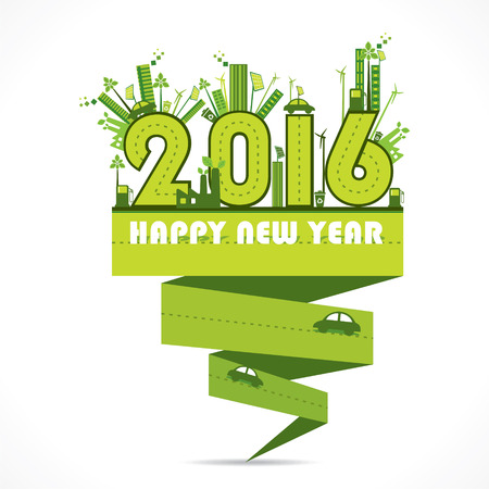 car oil: creative natural or eco-city new year 2016 design vector Illustration