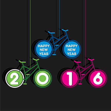 new yea: creative colorful new year 2016 greeting design with use of bicycle concept vector Illustration