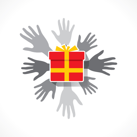 giving gift: people giving gift  concept design vector Illustration