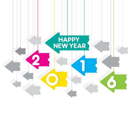 new arrow: creative happy new year 2016 greeting design with hang arrow background vector