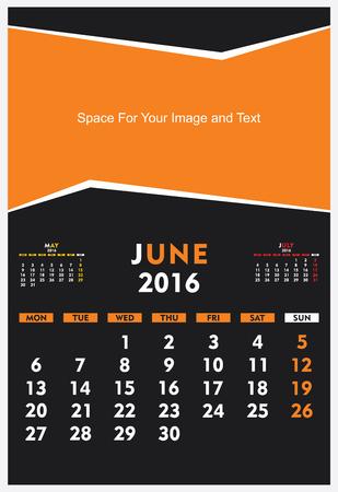 new year calendar June 2016 design vector