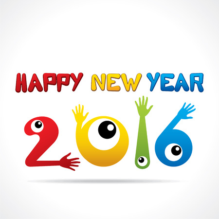 graphics design: creative happy new year 2016 greeting or graphics design vector