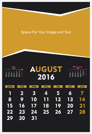 new year calendar August 2016 design vector