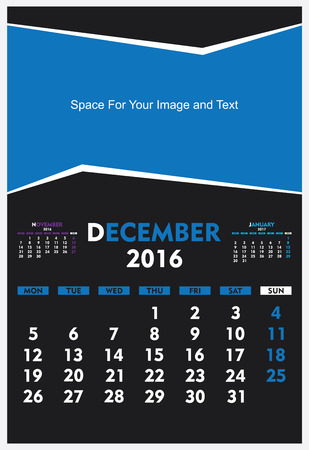 december: new year calendar December 2016 design vector