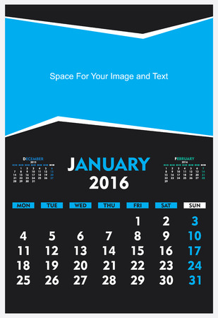thursday: new year calendar January 2016 design vector