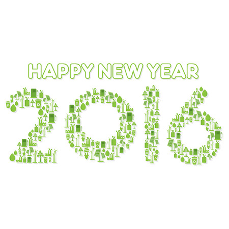 creative go green or eco city concept design new year 2016 vector