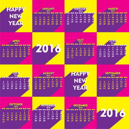 calender design: creative retro style new year calender 2016 design vector Illustration