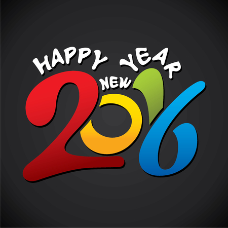 colorful happy new year 2016 design vector Illustration