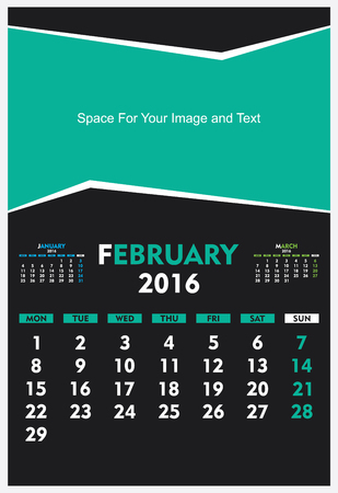 thursday: new year calendar February 2016 design vector