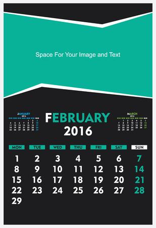 calandar: new year calendar February 2016 design vector