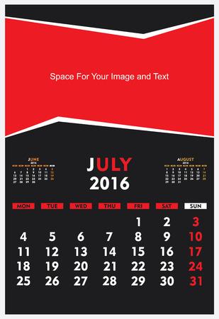 new year calendar July 2016 design vector