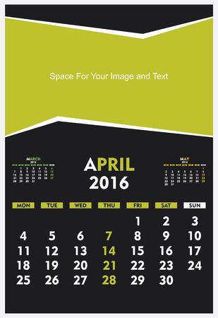 new year calendar April 2016 design vector