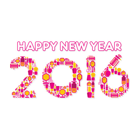 beauty product: creative new year 2016 design by beauty product concept vector Illustration