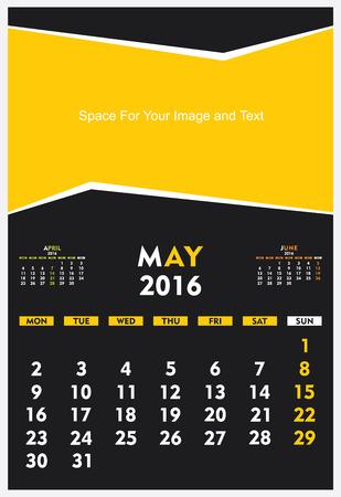 calendario diciembre: new year calendar May 2016 design vector