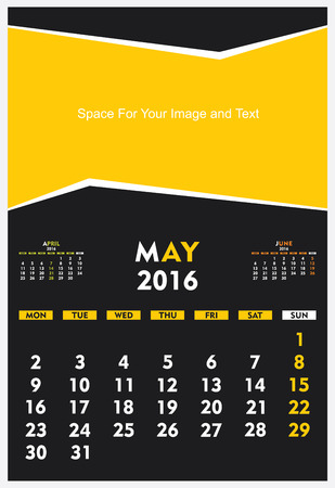 new year calendar May 2016 design vector