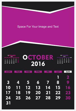 calendar october: new year calendar October 2016 design vector