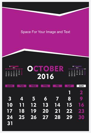 new year calendar October 2016 design vector