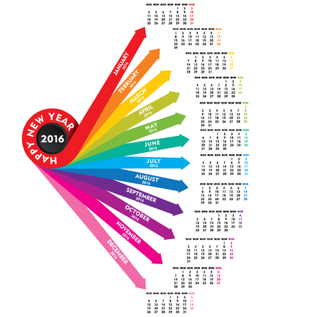 meses del a�o: creativo nuevo a�o 2016 dise�o de calendario vector