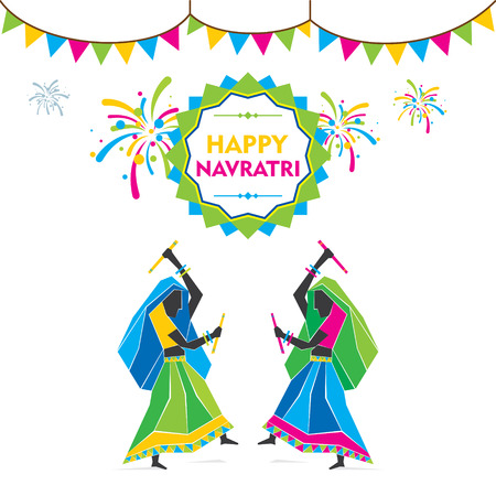folk festival: celebrate navratri festival by dancing garba design vector