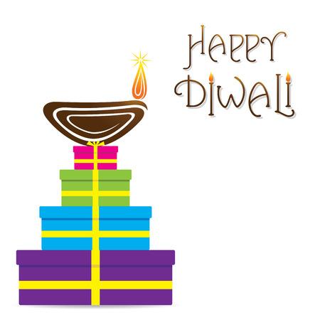 diwali greeting: happy diwali greeting design with gift box vector