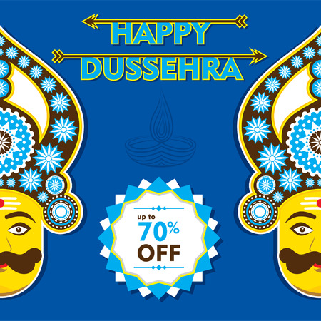 happy dussehra banner or greeting design vector Illustration