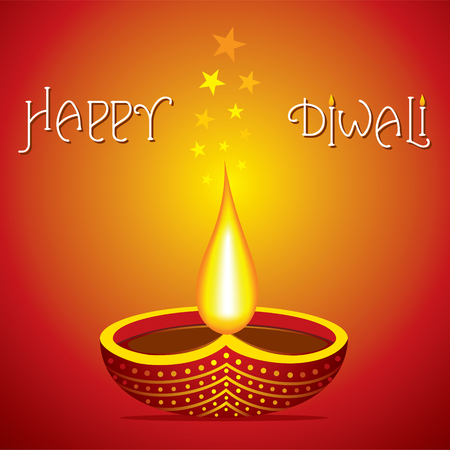 happy diwali poster or greeting design vector