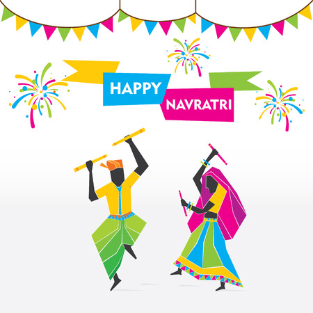 celebration: Festa felice navratri festeggiare ballando garba vettore