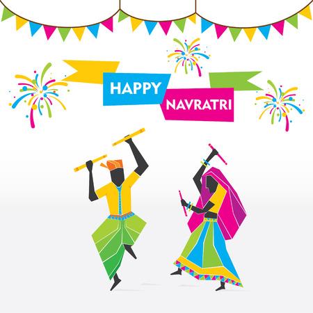 happy navratri festival celebrate by dancing garba vector Illustration