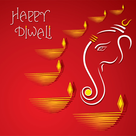 diwali celebration: happy diwali greeting card design vector