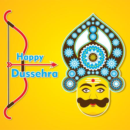 ravana: happy dussehra greeting card design vector