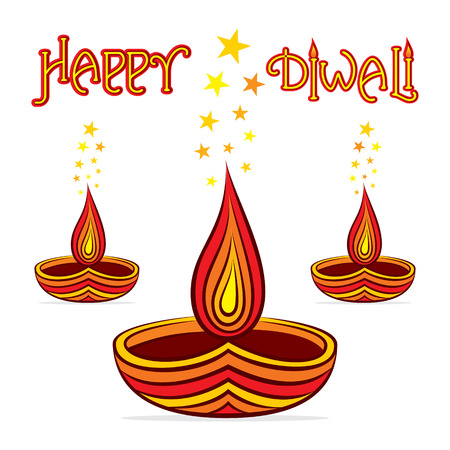 diyas: happy diwali design with diyas vector Illustration