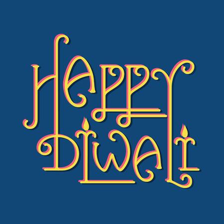 diwali greeting: creative typography of happy diwali greeting design vector