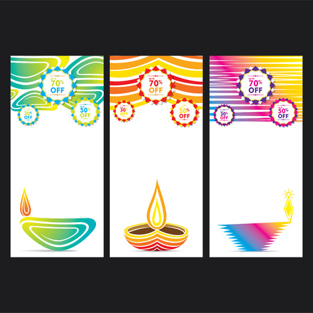 diyas: creative colorful happy diwali banner or leaflet design vector Illustration