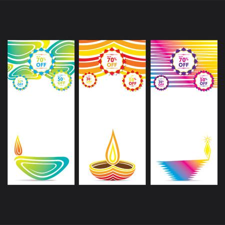 diyas: creative colorful happy diwali banner or leaflet design vector Illustration