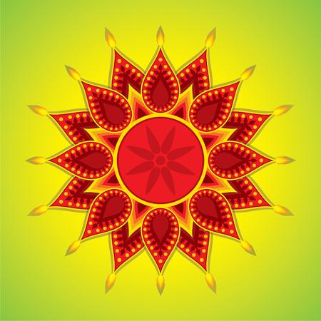 colorful diwali greeting design vector