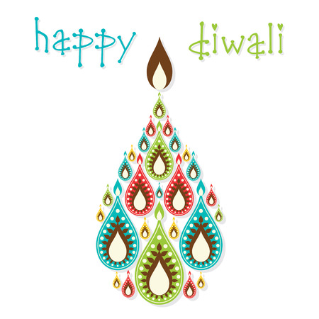 diyas: creative colorful diyas diwali greeting design vector