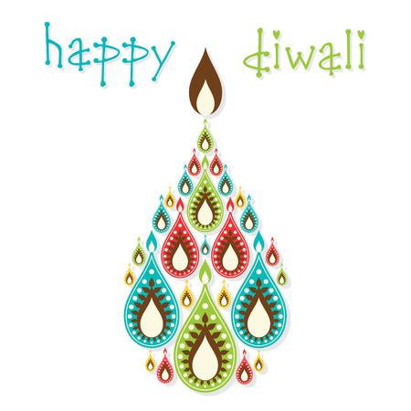 diyas: creative colorful diyas diwali greeting design vector