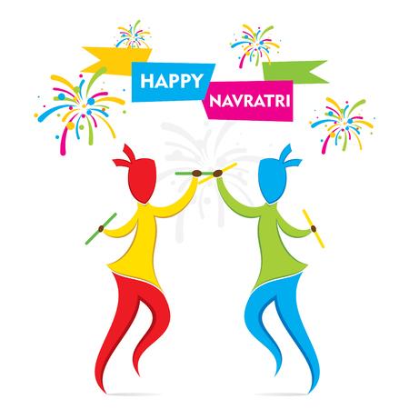 navratri: celebrate navratri festival with dancing garba design vector Illustration