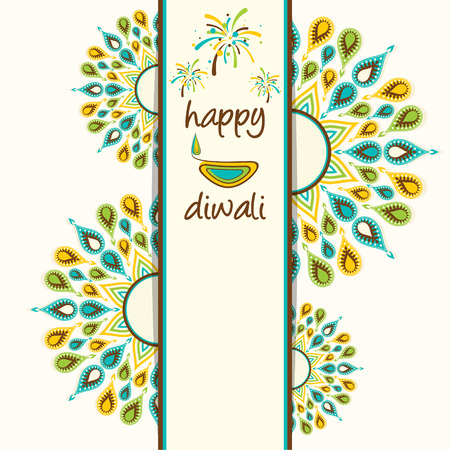 diyas: creative happy diwali greeting card design with colorful diyas design vector