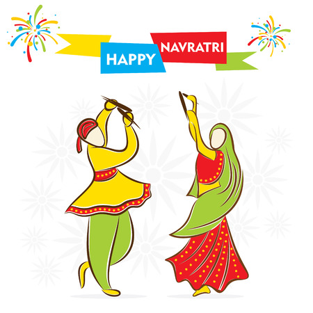 celebrate navratri festival with dancing garba design vector Ilustracja