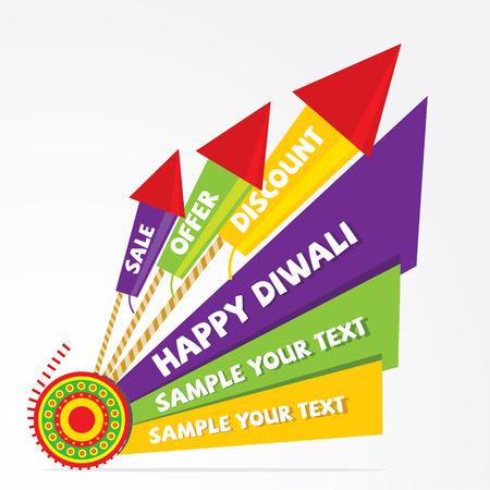 diwali: creative diwali offer banner design with cracker vector Illustration