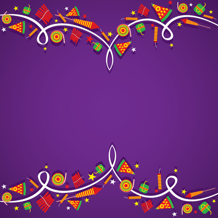creative Big cracker banner border design , happy diwali vector