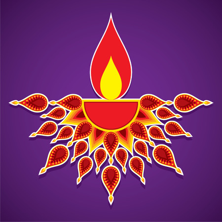 creative diya design , happy diwali greeting design vector Illustration