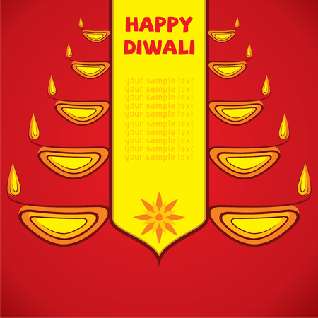 diyas: creative happy diwali greeting design by diyas vector